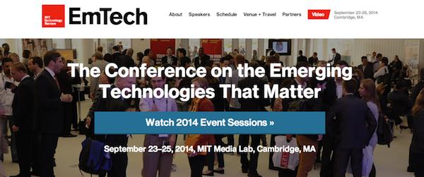 Emerging Technologies conference (EmTech2014)